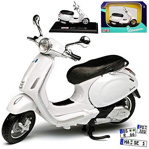 Vespa Primavera 150 Weiss mit Sockel 1/18 Maisto Modell Motorrad mit individiuellem Wunschkennzeichen