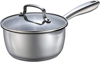 Momscook 1.5-Quart Stainless Steel Multi-Layer Saucepan with Glass Lid, Strainer Lid Cookware, Dishwasher Safe Sauce Pan