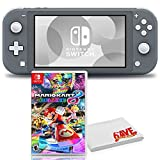 Nintendo Switch Lite (Gray) Console Bundle with Mario Kart 8 Deluxe Game and 6Ave Cleaning Cloth