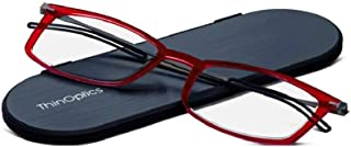 ThinOptics Reading Glasses + Milano Aluminum, Magnetic Case | Frontpage Brooklyn Collection, Red Frame 1.50 Strength Readers