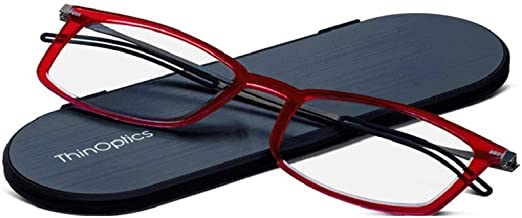 ThinOptics Reading Glasses + Milano Aluminum, Magnetic Case   Frontpage Brooklyn Collection, Red Frame 1.50 Strength Readers