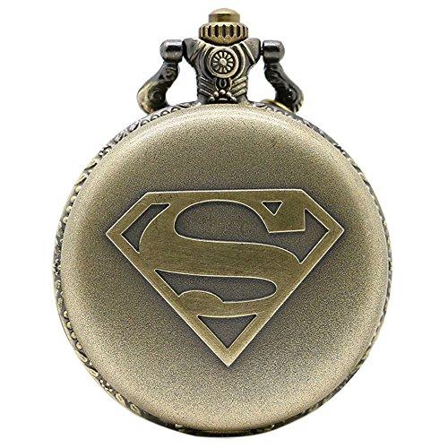 taport® Superman bronce antiguo grabado cuarzo reloj de bolsillo + libre batería de repuesto + libre bolsa de regalo