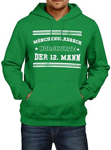 Shirt Happenz Mönchengladbach #1 Premium Hoodie | Fussball | Fan-Trikot | #jeden-verdammten-Samstag | Herren | Kapuzenpullover, Farbe:Hellgrün;Größe:L