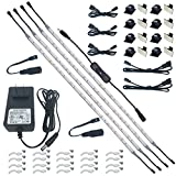 Litever Under Cabinet LED Lighting Kit, 4 PCS 20 Inches Flexible LED Strips, 16W, 1200 Lumen, Warm White 2700K. Suitable for Kitchen Counters Book Shelf Closet Workshop-(4-Strip-2700K)