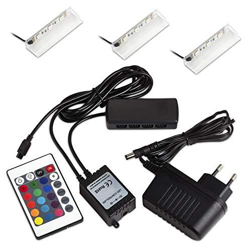 Set de 3 SO-TECH® RGB DEL/LED lampe pour vitres/vitrines incl. télécommande et multi fonction de changement de couleur (Classe d'énergie A++)