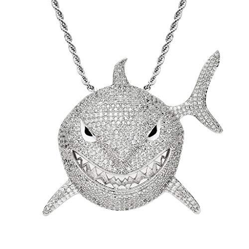 YAOUFBZ La Nuova Collana da Uomo Hip-Hop esagerata con zirconi Micro-intarsiati con Ciondolo squalo Grande con Lo Stesso Paragrafo 6ix9ine