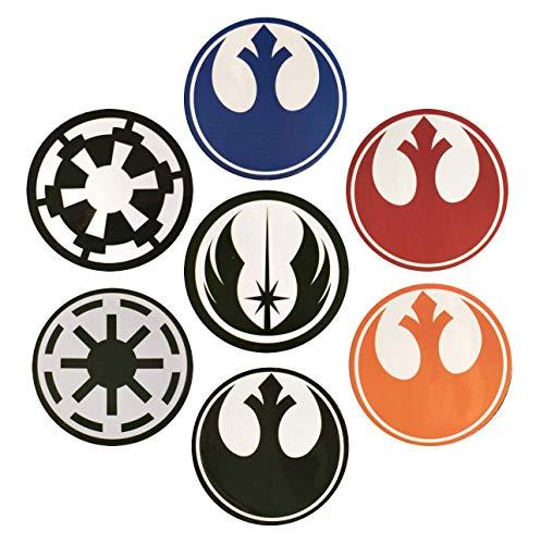 Star Wars Aufkleber-Kollektion, wasserdicht und UV-beständig, PVC, 75 mm, 7 Stück