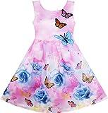Vestido para niña Rosa Flor Impresión Mariposa Bordado Morado 5 años
