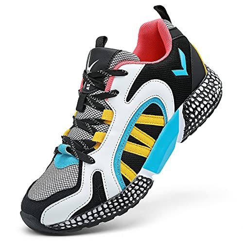 Sneakers Ragazzi Scarpe da Corsa Ragazze Trainer Ragazzi Tennis Mesh Basket Sport Outdoor Fitness Sportive 40 EU,Nero Blu