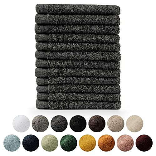 Blumtal 12er Set Gästehandtücher quadratisch 30x30cm - Handtücher Set, weich und saugstark, 100% Baumwolle, Oeko-Tex 100 Zertifiziert, Anthrazit