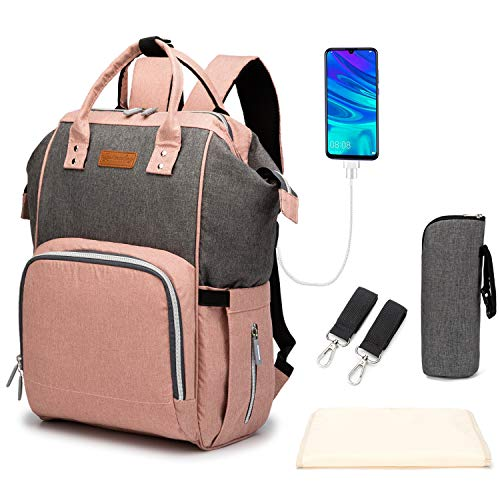 Goldwheat Diaper Backpack Baby Nappy Bags for Mom Maternity Large Capacity with Changing Pad & Hanging Straps,USB Charging Port Thermal Pockets,Water Resistant