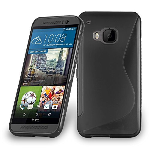 Cadorabo Hülle für HTC ONE M9 Plus/ONE ME - Hülle in Oxid SCHWARZ – Handyhülle aus flexiblem TPU Silikon im S-Line Design - Silikonhülle Schutzhülle Soft Back Cover Case Bumper