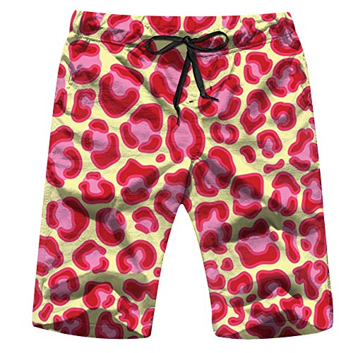 Leopard Jaguar Animal Fur Animals Mens Quick Dry Printed Board Swim Beach Shorts with Pockets