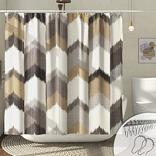 DESIHOM Country Shower Curtain 72x72 Inch, Grey and Tan Shower Curtain Rustic Primitive Shower Curtain Neutral Shower Curtain Farmhouse Polyester Fabric Machine Washable