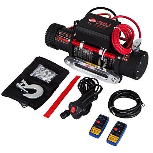 Mophorn 12v Elektrische Winde ATV Recovery Winch 6120 KG 13500LBS Winch Synthetic Seil mit Fernbedienung für ATV UTV (13500LBS Synthetic)