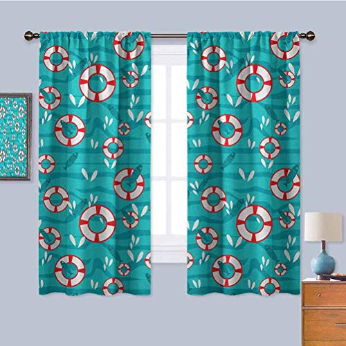 Buoy Black Out Window Curtain 2 Panel, Curtains 39 inch Length Pattern with Waves and Fish on Sea Surface Water Splash Lifesaving Nautical Protective Furniture Turquoise Red White W55 x L39 Inch