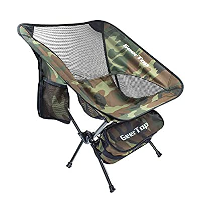 GEERTOP Portable Compact Folding Chair Ultralight Camping Backpack Chairs for Outdoor Camp Hiking Hunting Fishing - Heavy Duty 300lbs Capacity