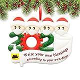 XBrand 2020 Christmas Ornaments, Quarantine Survivor Family Ornament Kit, Christmas Decorating Kits, Creative Gift for Family 1-7, Name Christmas (Family of 4, Size 2)