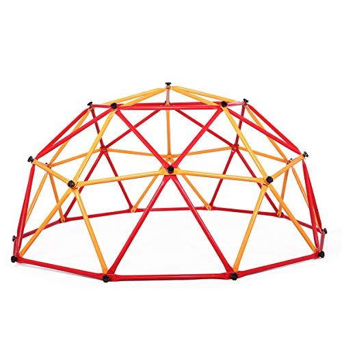TOBBI Outdoor Dome Climber 6.6' Wide x 3.75' High, Playground Climbing Frame Backyard Gym in Red & Yellow & Blue