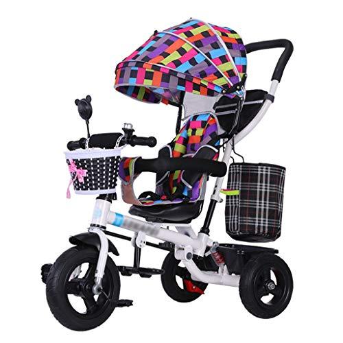 QDY-Strollers Bicicleta Plegable 4 en 1 para niños con arnés de Seguridad y toldo Desmontable para bebés de 6 Meses a 5 años de Edad