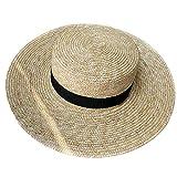 Pamelas De Paja Sombrero De Paja De Trigo Natural para Mujer, Lazo De Cinta, Sombrero De Navegante De Borde De 9 Cm, Sombrero De Sol De Playa Derby, Gorra De Señora, Sombrero Ancho De Verano, Som