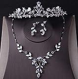 DVPHA Luxury Cubic Zirconia Crown Tiara Necklace Earrings Set for Women Wedding Jewelry Set for Bride Zircon Crowns CZ Jewelry Bijoux (3Pcs Jewelry Set)