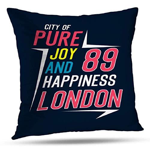 GFFD Joy Pillowcase Fundas de Almohada London City Joy and Happiness Shirt Artwork Cojín Cuadrado para sofá Sofá Cama Poliéster Puro
