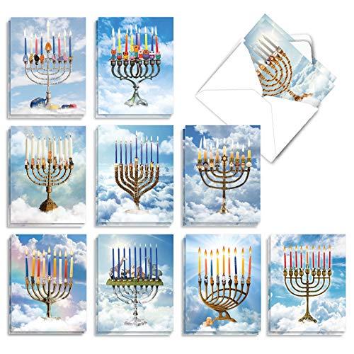 The Best Card Company - 20 Hanukkah Cards Boxed (10 Designs, 2 Each) - Assorted Religious Chanukah Notecards, Jewish Holiday - Animalistic Menorahs AM3495HKG-B2x10
