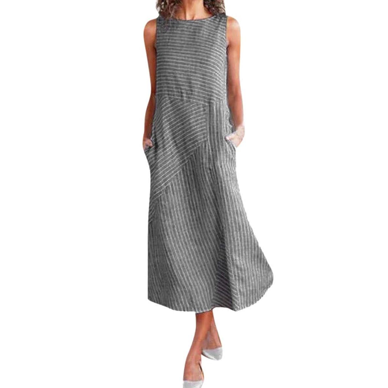 Maxi Dress for Women,Ladies Casual Striped Sleeveless Dress Beach Dress Crew Neck Linen Pocket Boho Long Dress