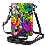 Precioso Ramo de Rosas arcoíris a la Moda, pequeño Monedero para teléfono Celular, Bolso de Hombro Multiusos, Billetera