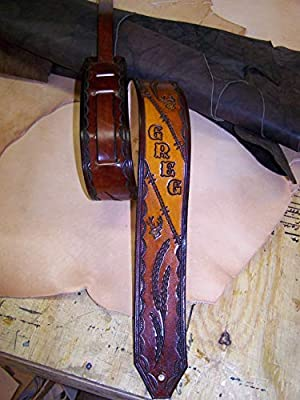 Barbwire & Deer Custom Name Leather Guitar Strap