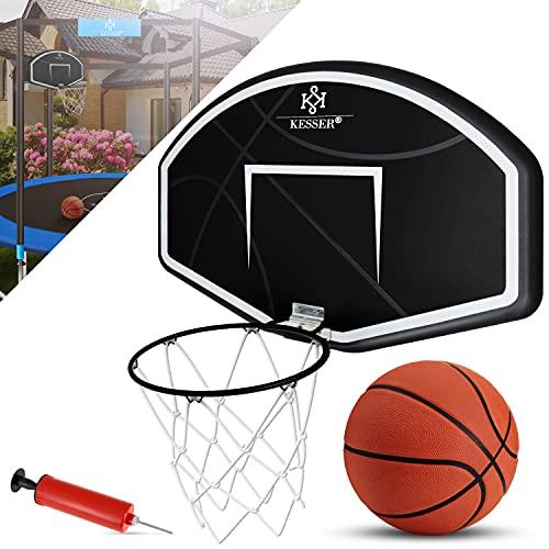 KESSER® Basketballkorb-Set Wandmontage mit Netz Basketball Backboard für Kinder Basketballbrett inklusive Ball Ballpumpe Wandhalterung Korb und Netz Basketballring Indoor Outdoor Schwarz