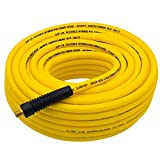 FIXSMITH-Hybrid-Air-Hose,300psi,3/8 inX 100 ft,1/4 in Brass MNPT Fittings and Bend Restrictors,Heavy Duty, Non-Kinking,Lightweight,Extreme All Weather Flexibility,UV,Oil and Abrasion Resistant,Yellow.
