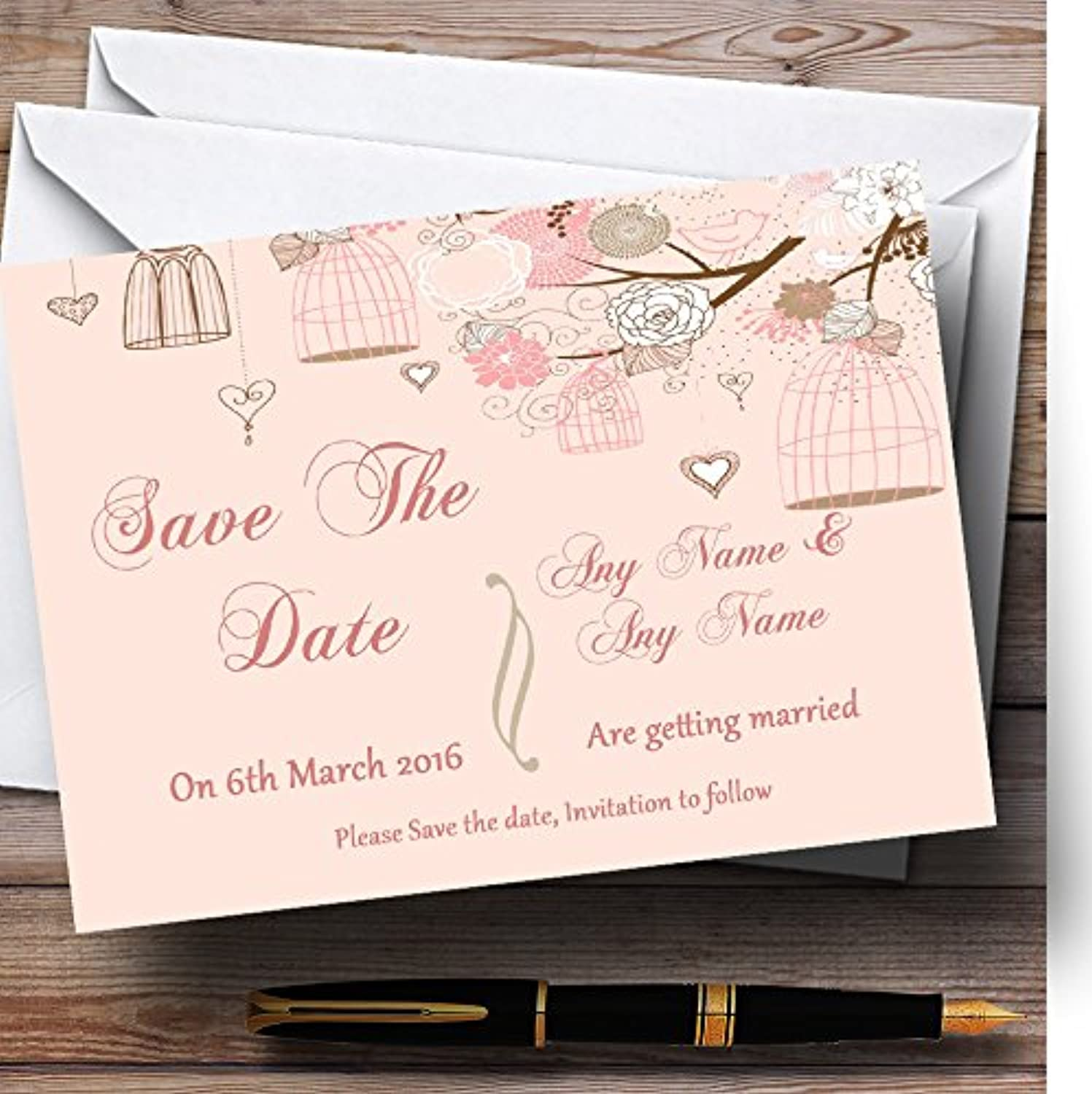Coral Peach Vintage Birdcage Personalised Wedding Stationery Save The Date Cards
