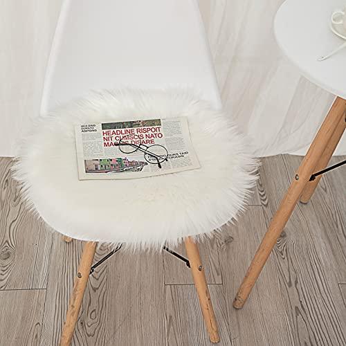 DAOXU Kunstfell Pelz Stuhl, Sitz Pad Shaggy Bereich Teppiche für Schlafzimmer Sofa Boden Home Decorator Teppiche Spielen Teppich Matte Teppich (Weiß, 45cm runde)