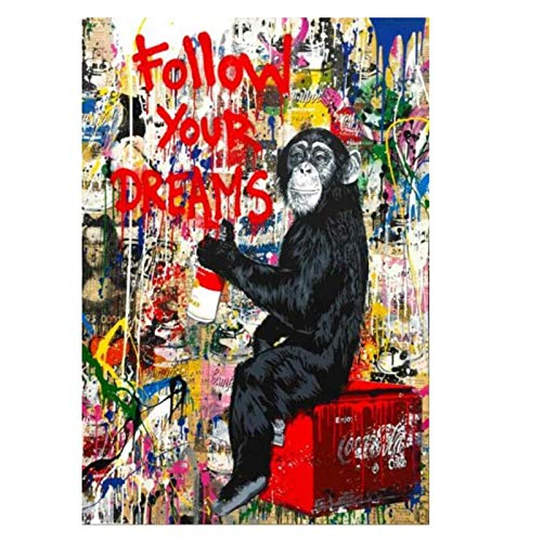 SHBKGYDL Impression sur Toile Impression sur Toile Suivez Vos Rêves Wall Street Art Graffiti Peintures sur Toile Abstract Einstein Pop Art Toile Tirages pour Kids Room Decor,60X90Cm