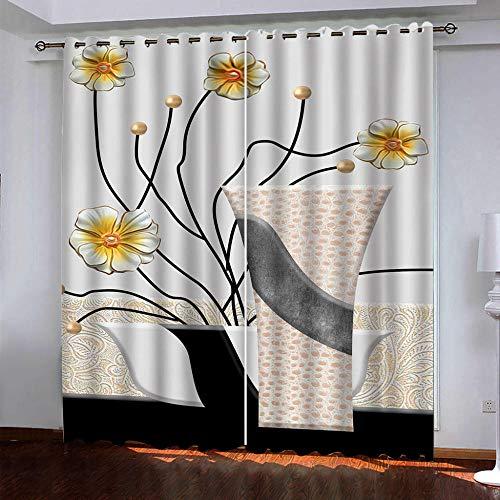 DRFQSK Cortinas Opacas Térmicas Aislantes para Salon Cortinas con Ojales para Dormitorio Impresión 3D Flores De Florero De Moda Cortinas para Ventanas 2 Piezas 264 X 214 Cm(An X Al)