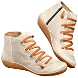 Quealent Knee High Boots for Women,Women's Boots - New Arch Support Boots with Side Zipper Leather Comfortable Damping Shoes Platform Wedge Booties Casual Shoes Women's Boots Beige