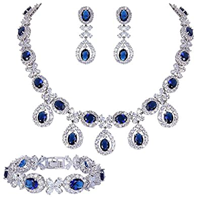 EVER FAITH Silver-Tone CZ Floral Leaves Water Drop Necklace Earrings Bracelet Set Blue Sapphire-Color