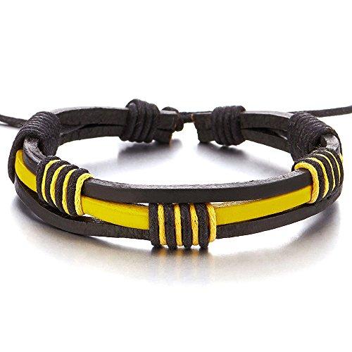 COOLSTEELANDBEYOND Handarbeit Geflochtenem Leder-Armband für Herren für Jungen für Damen Gelb und Schwarz Echtes Leder Wickeln Schweißband