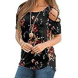 2021 Nuevo Camiseta de Mujer, Elegante Manga Corta Blusa Impresión Sexy Hombro sin Tirantes Moda Fiesta Cuello Redondo Camisa Suelto Verano Camiseta Tops Casual T-Shirt Original tee