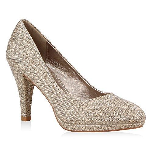 Klassische Damen Pumps Elegante High Heels Glitzer Stilettos Damen Velours Schuhe 39716 Bronze 36 Flandell