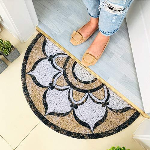 ZXBCD Entrance Non-Slip Waterproof Door Mat, Outdoor Low Profile Front Door Carpet Welcome Easy Clean Durable Silk Loop PVC Half Round Doormat E 80x160cm(31x63inch)