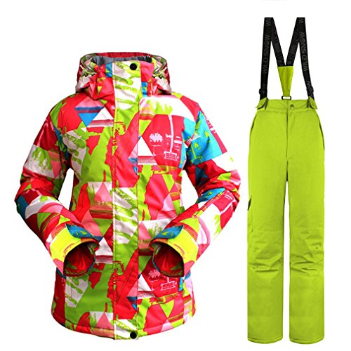 Professionele Dames Skikleding Set Waterdicht Winddicht Warm Outdoor Wear Oranje + Groen XL