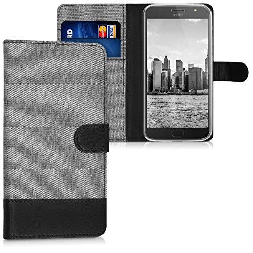 kwmobile Motorola Moto G5S Plus Hülle - Kunstleder Wallet Case für Motorola Moto G5S Plus mit Kartenfächern & Stand - Grau Schwarz