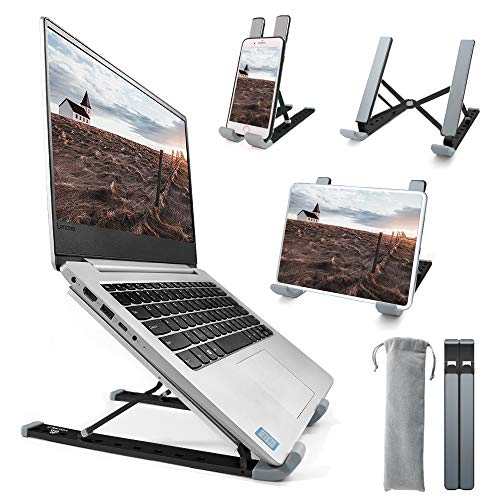 Homesuit Laptop Stand, Adjustable Aluminum Laptop/Tablet/Smartphone Stand with 9 Levels Height Foldable Portable Riser Desktop Holder Compatible with Mac MacBook Pro Air, Lenovo, HP, Dell-Black