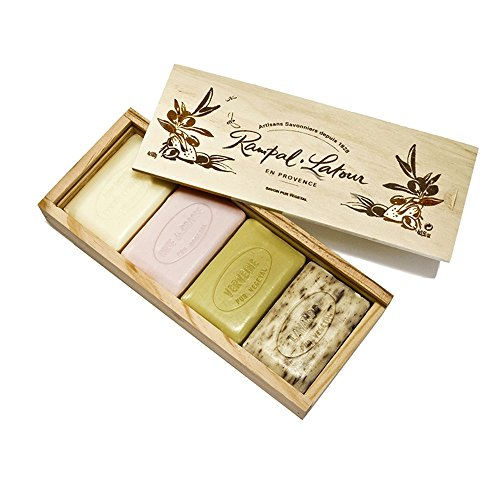 Natural Soaps Bars Rose Honey Verbena Lavender in Wooden Gift Box 4 x 100 g 3.50 oz Rampal Latour