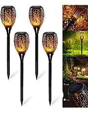 Zonne-vlam Licht Set 4 stuks, Solar Light Flame, Solar Fakkel Vlam Tuinverlichting op Zonneenergie Buitenverlichting Tuinfakkels Buiten Tuinlamp 2200 mAh (4 stuks)