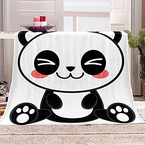 LHUTY Navidad Manta de Franela Caliente Panda de Dibujos Animados 130x150 cm Manta de Sofá y Cama de Microfibra Hecha de Suave Felpa Tacto Suave Agradable para Cama del Invierno del Salón