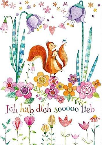 Postkarte Mila Marquis * Eichhörnchen * So Hab Dich so lieb